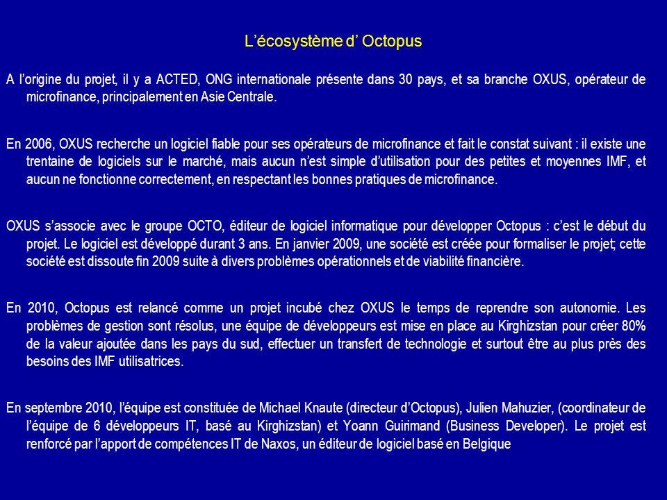 Lécosystème d Octopus A lorigine du projet, il y a ACTED, ONG internationale présente dans 30 pays, et sa branche OXUS, opérateur de microfinance, pri