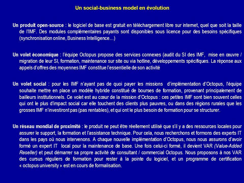 Un social-business model en évolution Un produit open-source : le logiciel de base est gratuit en téléchargement libre sur internet, quel que soit la