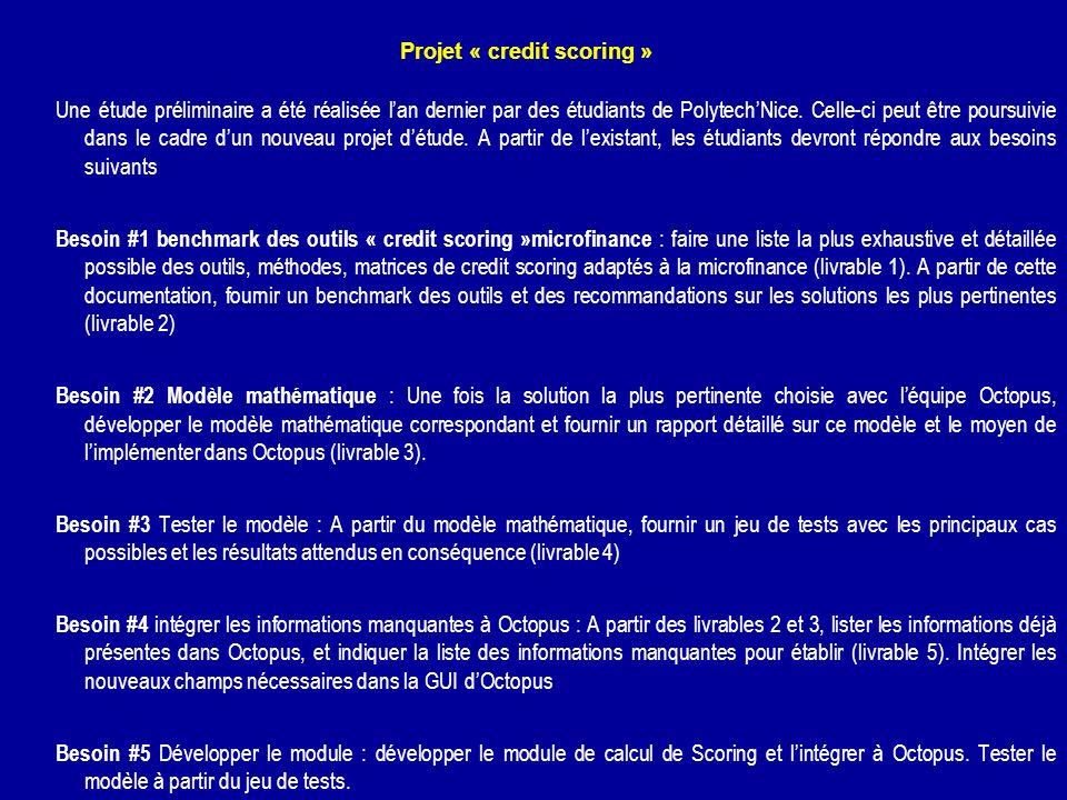 Projet « credit scoring » Une étude préliminaire a été réalisée lan dernier par des étudiants de PolytechNice. Celle-ci peut être poursuivie dans le c