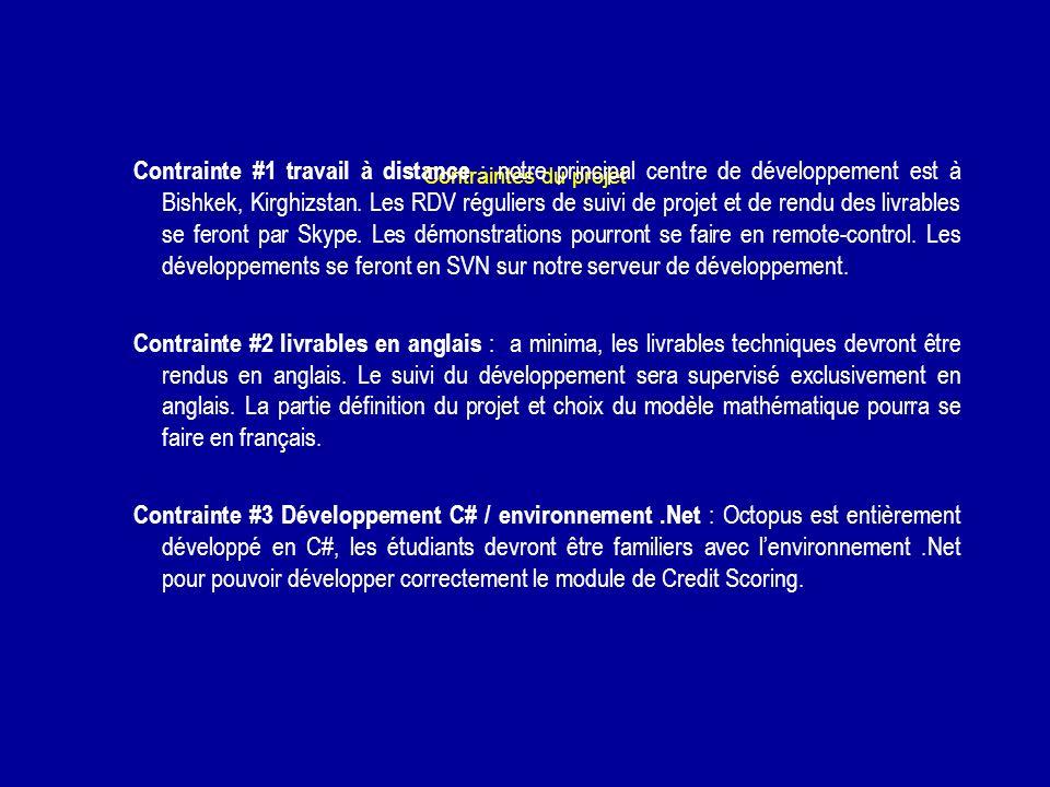 Contraintes du projet Contrainte #1 travail à distance : notre principal centre de développement est à Bishkek, Kirghizstan. Les RDV réguliers de suiv