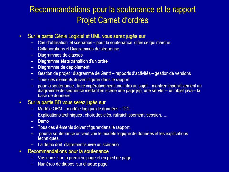 Recommandations pour la soutenance et le rapport Projet Carnet dordres Sur la partie Génie Logiciel et UML vous serez jugés sur –Cas dutilisation et s