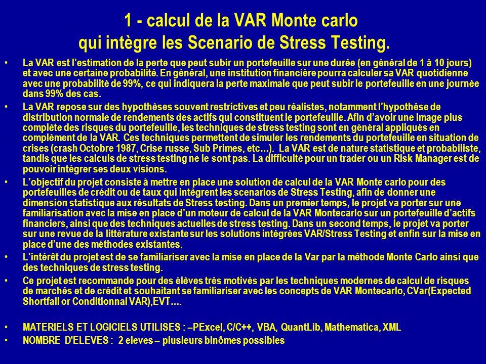 1 - calcul de la VAR Monte carlo qui intègre les Scenario de Stress Testing. La VAR est lestimation de la perte que peut subir un portefeuille sur une
