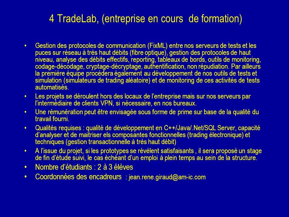 4 TradeLab, (entreprise en cours de formation) Gestion des protocoles de communication (FixML) entre nos serveurs de tests et les puces sur réseau à t