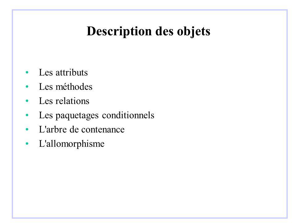 Description des objets Les attributs Les méthodes Les relations Les paquetages conditionnels L'arbre de contenance L'allomorphisme