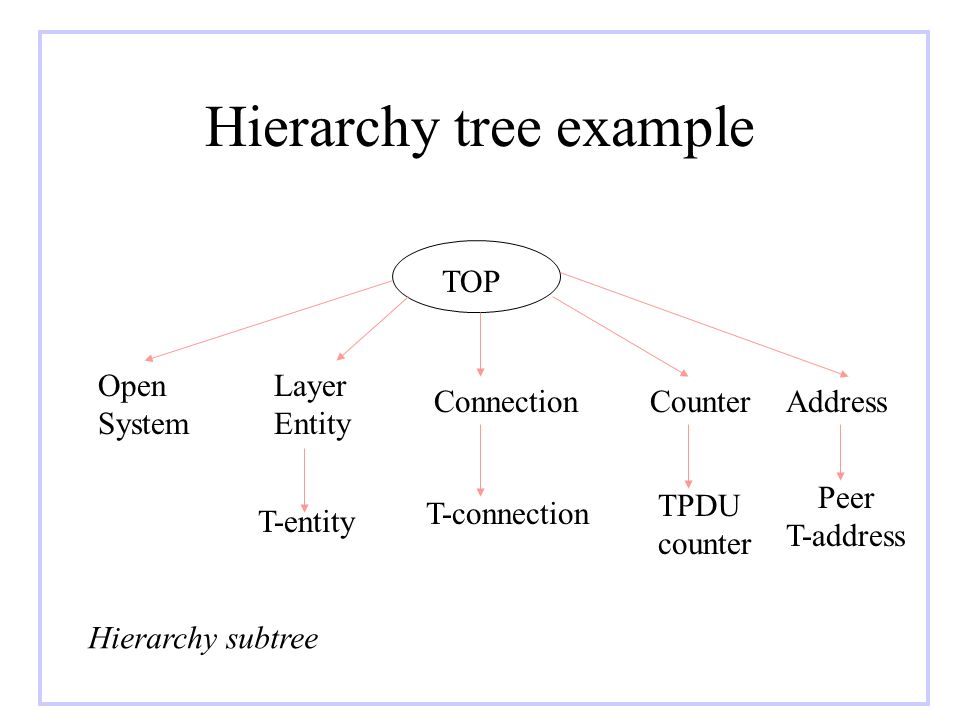Hierarchy tree example TOP Open System Layer Entity ConnectionCounterAddress T-entity T-connection TPDU counter Peer T-address Hierarchy subtree