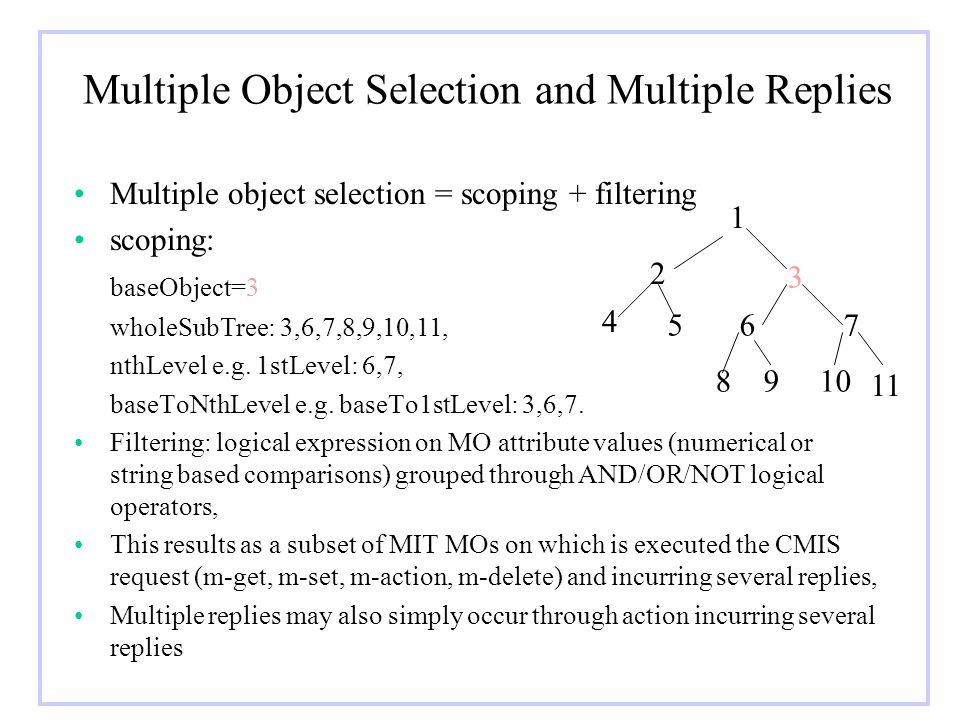Multiple Object Selection and Multiple Replies Multiple object selection = scoping + filtering scoping: baseObject=3 wholeSubTree: 3,6,7,8,9,10,11, nt