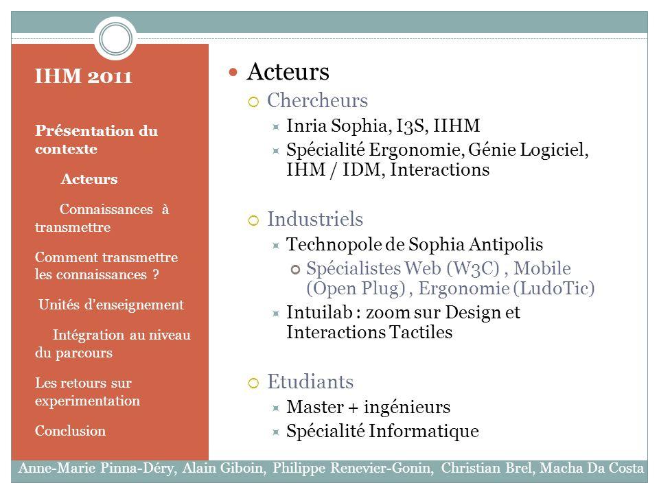 IHM 2011 Prése ntation du contexte Acteurs Connaissances à transmettre Comment transmettre les connaissances .