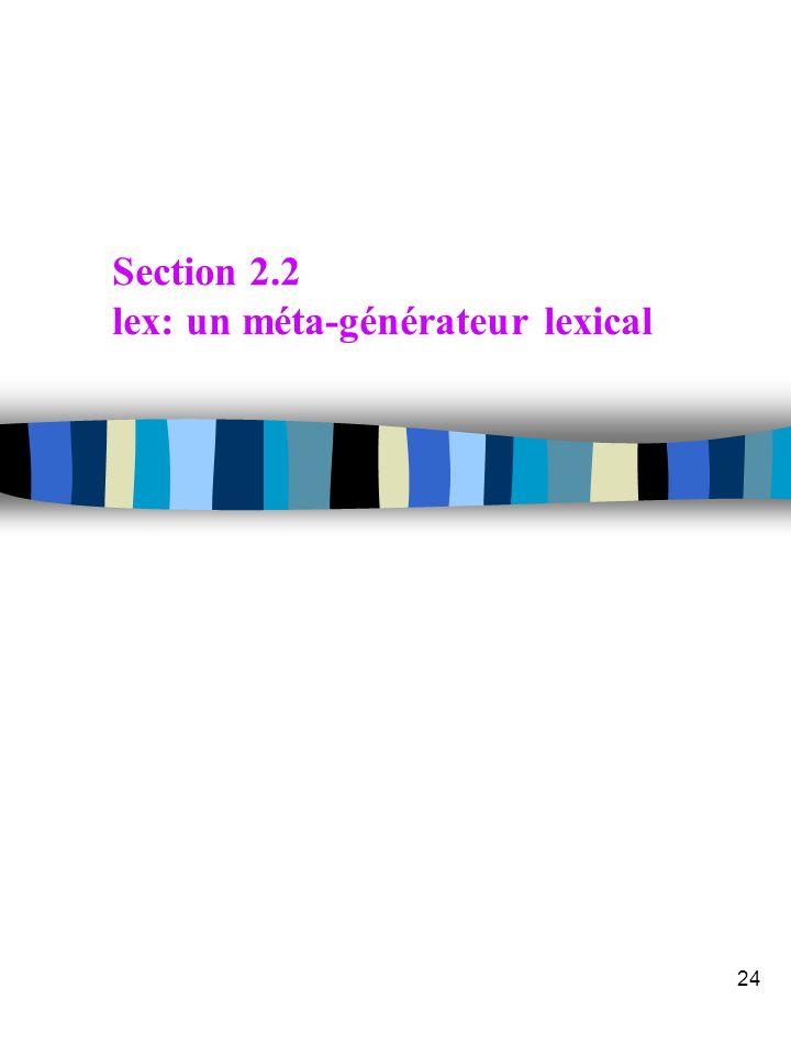Transparent 23 n Source format général exemple /*expactions */ a; ekak; abb; a*b+; n AFND n AFD Implémentation des Générateurs d'Analyse Lexicale 2 a