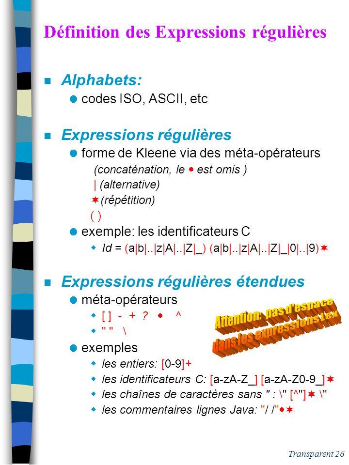 Transparent 25 lex : un générateur lexical Analyseur (N)D Table Transitions AF(N)D n lex est un méta-compilateur pour grammaires lexicales [ section d