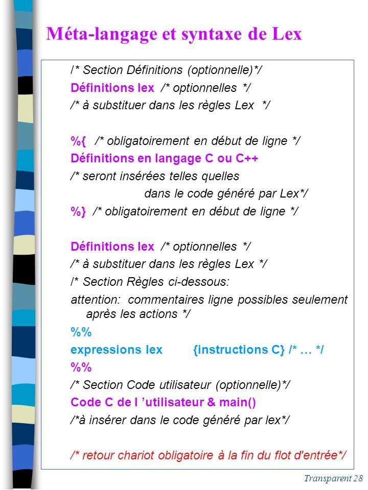 Transparent 27 Les caractères de lex n Les caractères terminaux tous les caractères, sauf les spéciaux l espace est significatif les spéciaux doivent