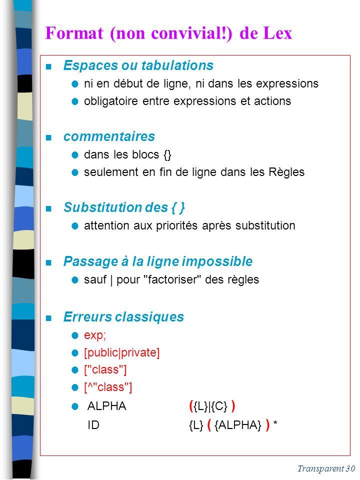 Transparent 29 Exécution (simplifiée) d'un analyseur Lex public Flot scan() { // this est un flot d'entrée Flot FSortie: new Flot(); CC=CD= debut(); w