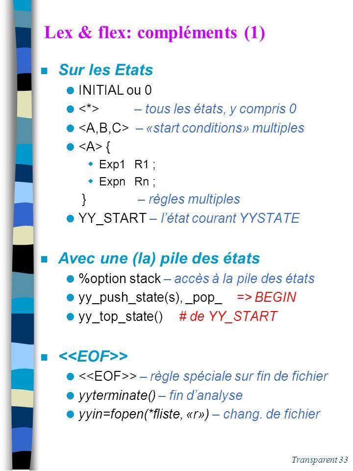 Transparent 32 Lex: modifier le fonctionnement n Modifier le découpage yymore() – concatène les tokens successifs yyless(int n) – retour arrière de yy