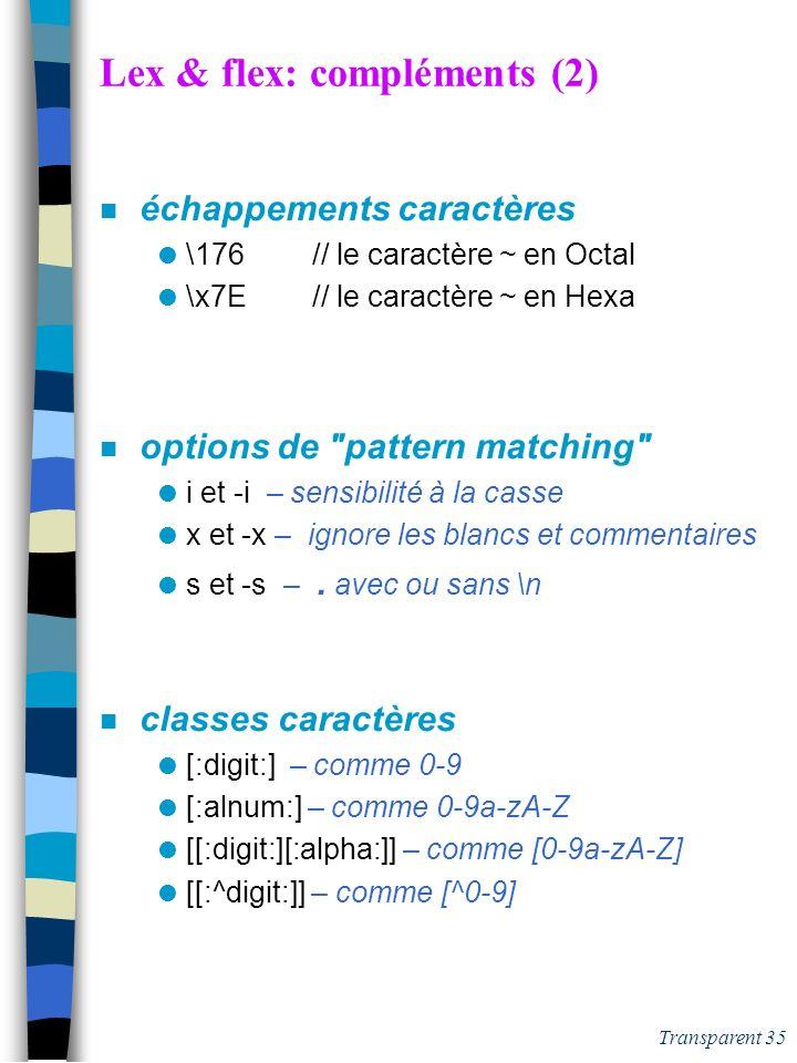 Transparent 34 Exécution d'un analyseur Lex CCCCCCCCCCCCCCCCCCCCC E1 -> A1 CDCC Lexème le + long possible