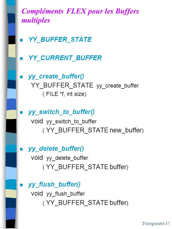 Transparent 36 Lex & flex: compléments (3) n La ligne courante %option yylineno – gestion de la ligne courante n Sur les règles de lanalyseur yy_act –
