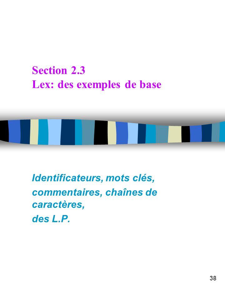 Transparent 37 Compléments FLEX pour les Buffers multiples n YY_BUFFER_STATE n YY_CURRENT_BUFFER n yy_create_buffer() YY_BUFFER_STATE yy_create_buffer