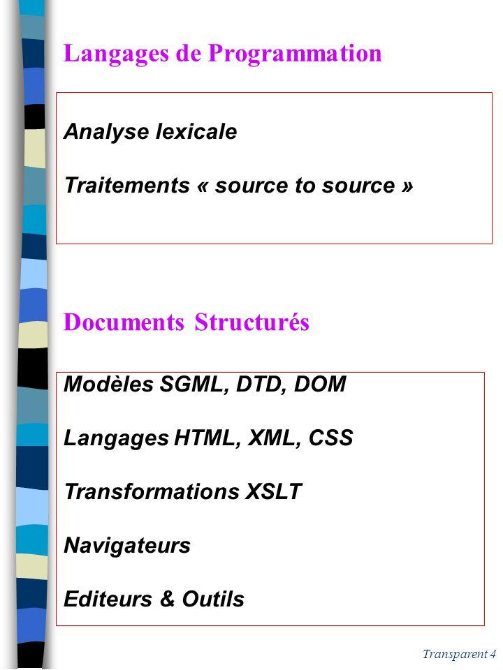 Transparent 4 Langages de Programmation Analyse lexicale Traitements « source to source » Documents Structurés Modèles SGML, DTD, DOM Langages HTML, XML, CSS Transformations XSLT Navigateurs Editeurs & Outils