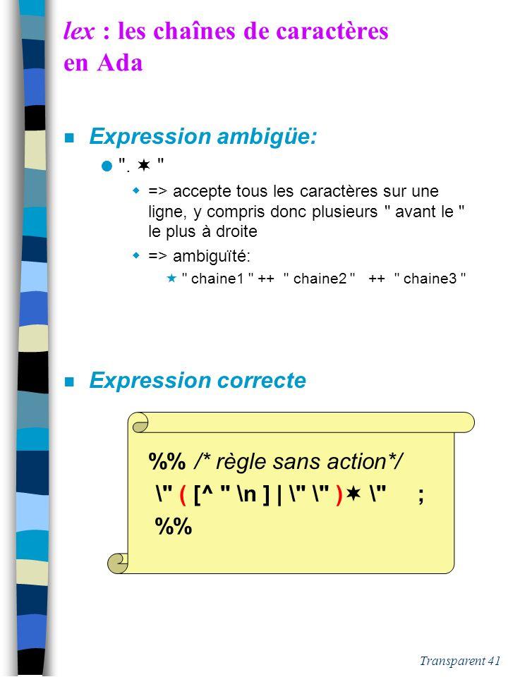 Transparent 40 lex : les identificateurs Java n Expression étendue: [a-zA-Z_$ ] [a-zA-Z0-9_$] * n Source lex /* définitions */ LET [a-zA-Z_$] CHIF [0-