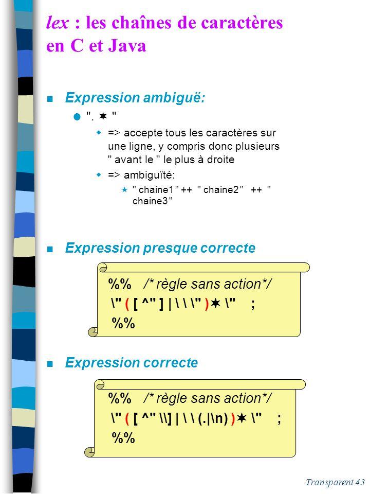Transparent 42 lex : les chaînes de caractères en C et Java n Expression ambigüe:
