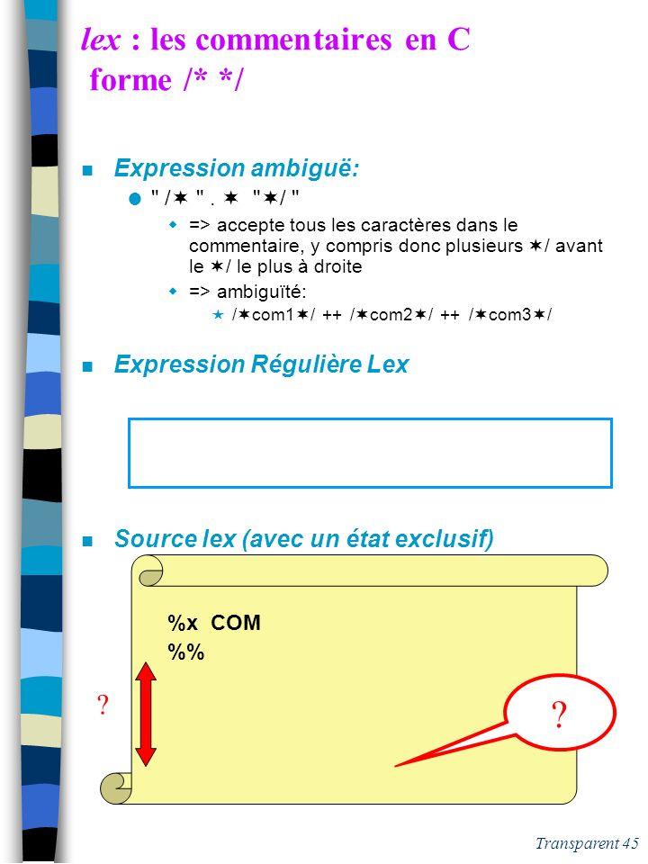Transparent 44 lex : mots clés, entiers, identificateurs C n Source lex CHIF[0-9] ENTSIG(
