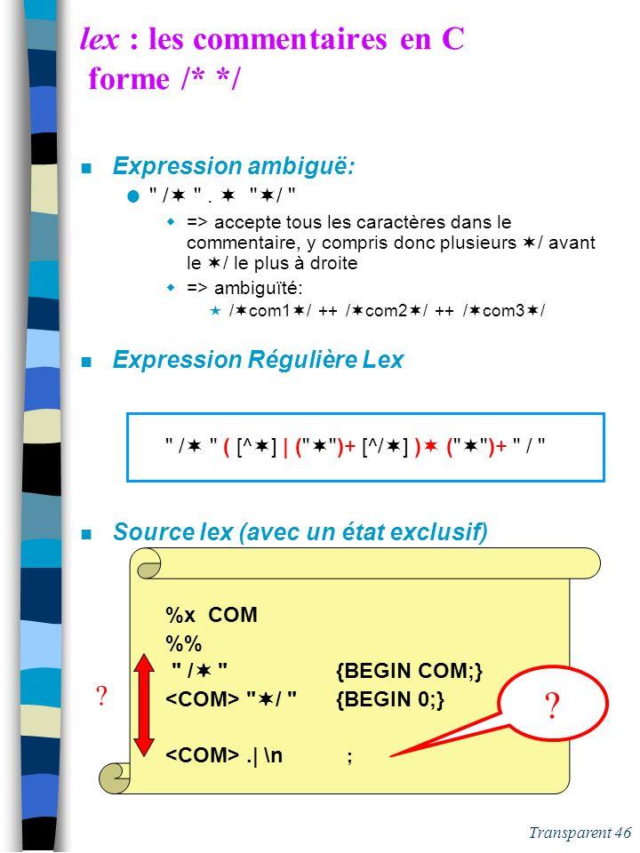 Transparent 45 lex : les commentaires en C forme /* */ n Expression ambiguë: