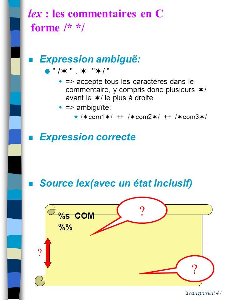 Transparent 46 lex : les commentaires en C forme /* */ n Expression ambiguë: