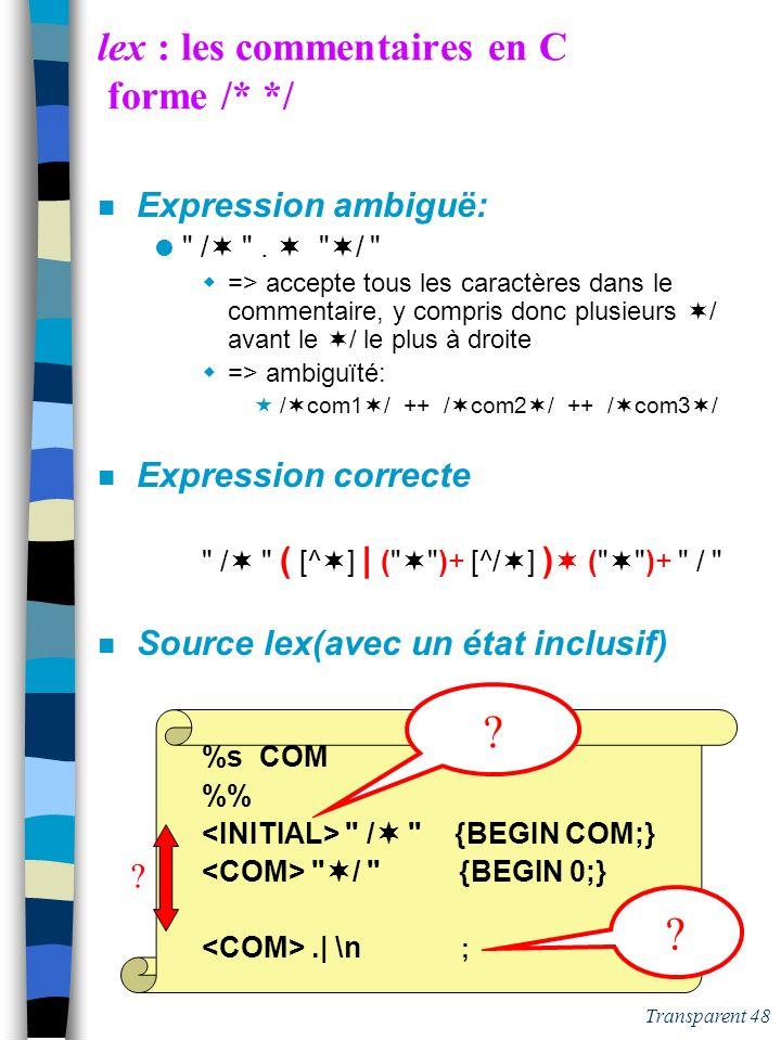 Transparent 47 lex : les commentaires en C forme /* */ n Expression ambiguë: