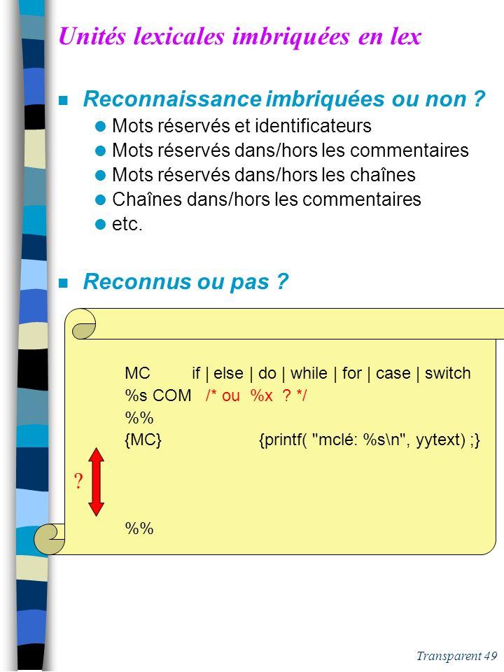 Transparent 48 lex : les commentaires en C forme /* */ n Expression ambiguë: