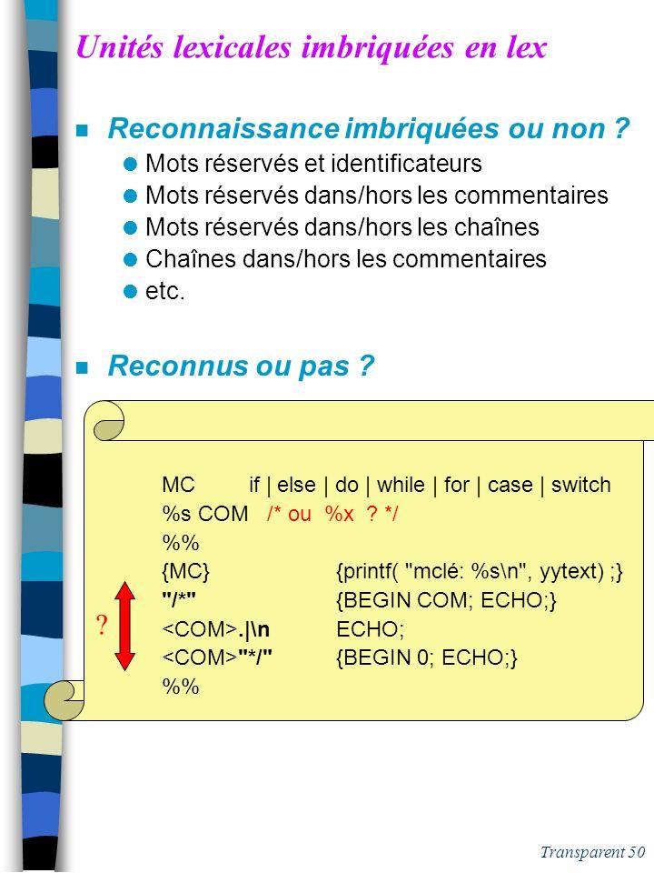 Transparent 49 Unités lexicales imbriquées en lex n Reconnaissance imbriquées ou non ? Mots réservés et identificateurs Mots réservés dans/hors les co
