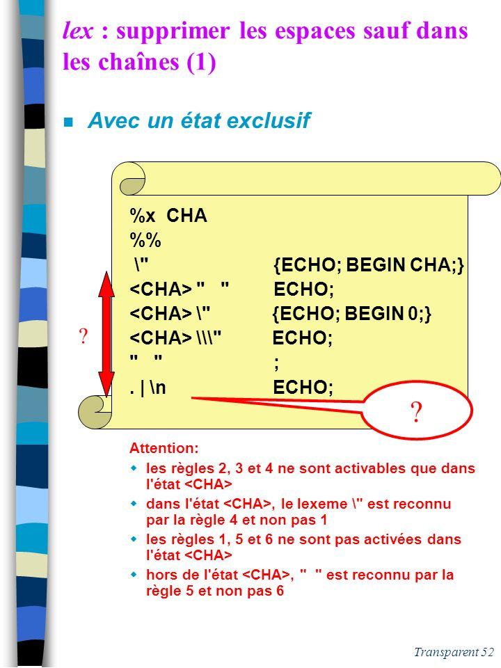 Transparent 51 lex : supprimer les espaces sauf dans les chaînes (1) n Avec un état exclusif %x CHA % Attention: les règles 2, 3 et 4 ne sont activabl