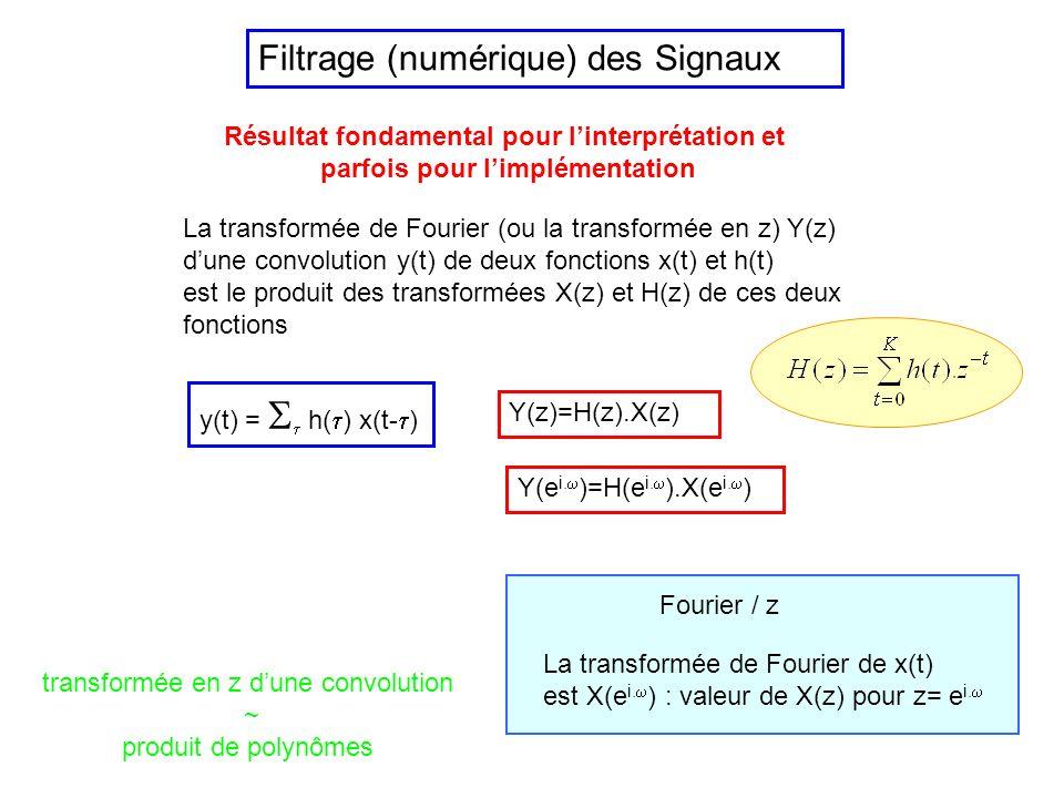 Filtrage (numérique) des Signaux Numérique : dès que la bande de fréquence occupée par le signal est suffisamment faible pour le permettre : plus fiab