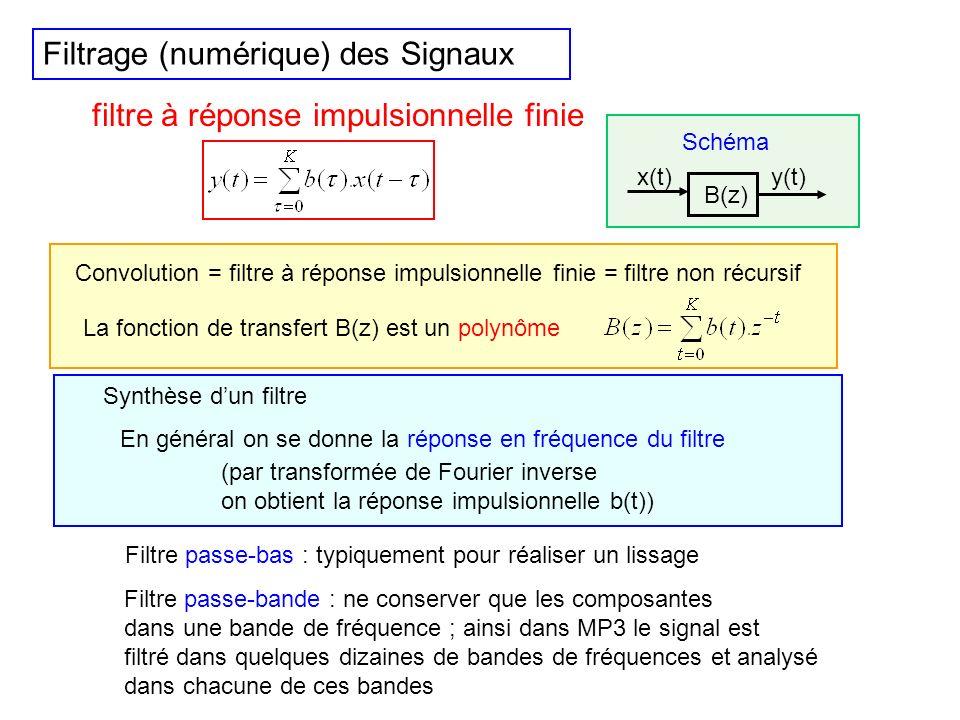 Filtrage (numérique) des Signaux Résultat fondamental pour linterprétation et parfois pour limplémentation La transformée de Fourier (ou la transformé