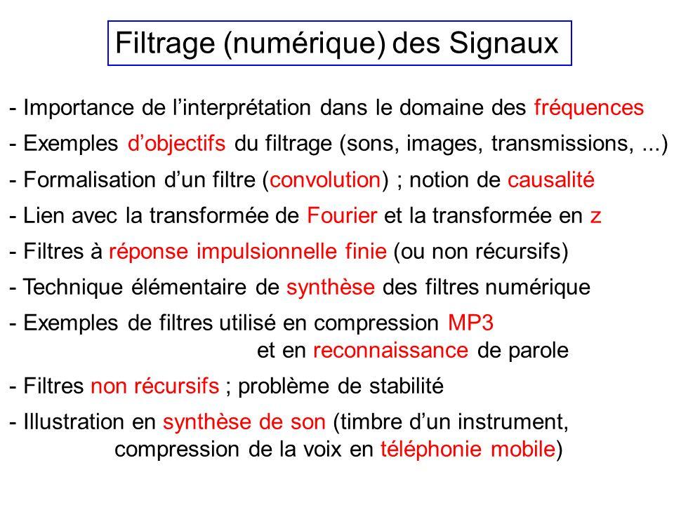 Filtrage (numérique) des Signaux - Importance de linterprétation dans le domaine des fréquences - Exemples dobjectifs du filtrage (sons, images, transmissions,...) - Formalisation dun filtre (convolution) ; notion de causalité - Lien avec la transformée de Fourier et la transformée en z - Filtres à réponse impulsionnelle finie (ou non récursifs) - Technique élémentaire de synthèse des filtres numérique - Exemples de filtres utilisé en compression MP3 et en reconnaissance de parole - Filtres non récursifs ; problème de stabilité - Illustration en synthèse de son (timbre dun instrument, compression de la voix en téléphonie mobile)