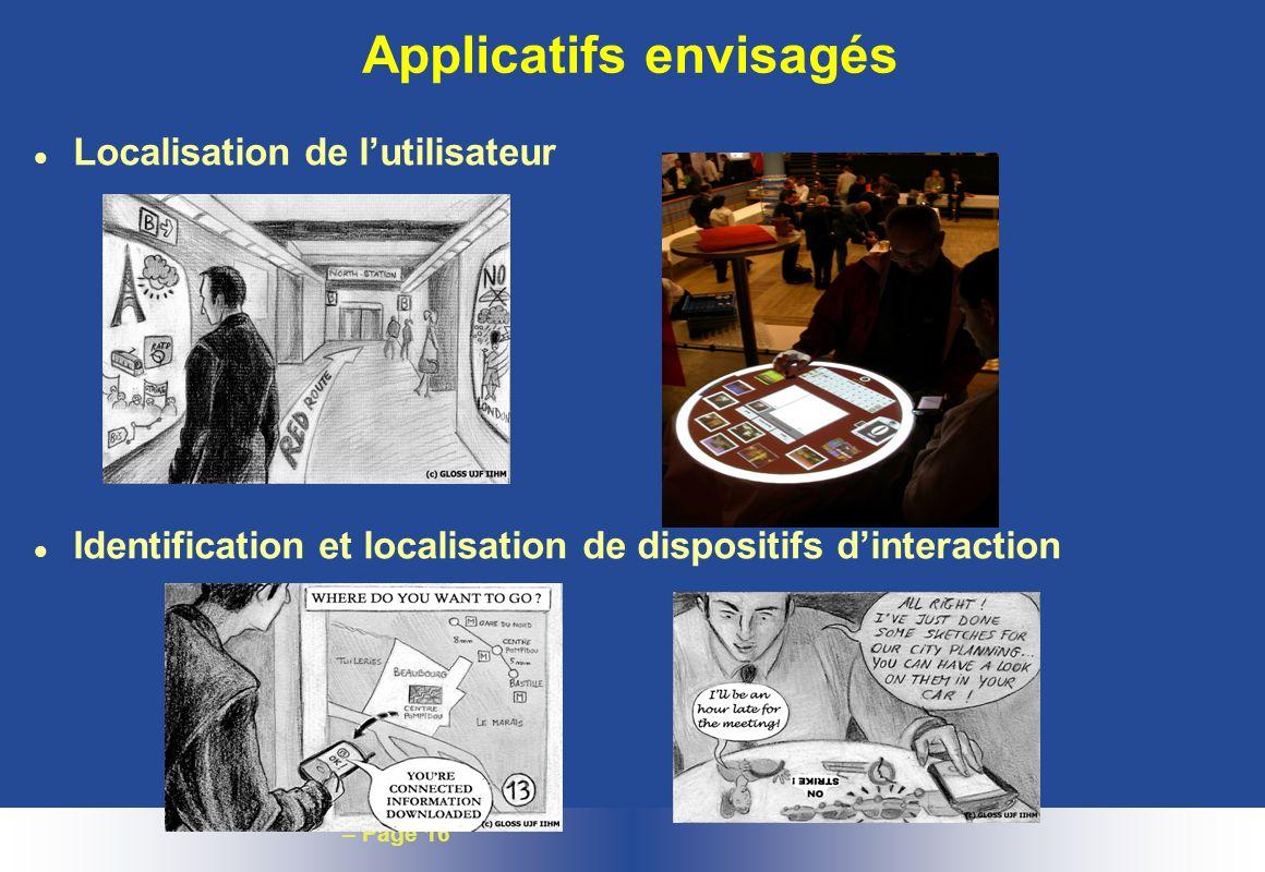– Page 16 Applicatifs envisagés l Localisation de lutilisateur l Identification et localisation de dispositifs dinteraction