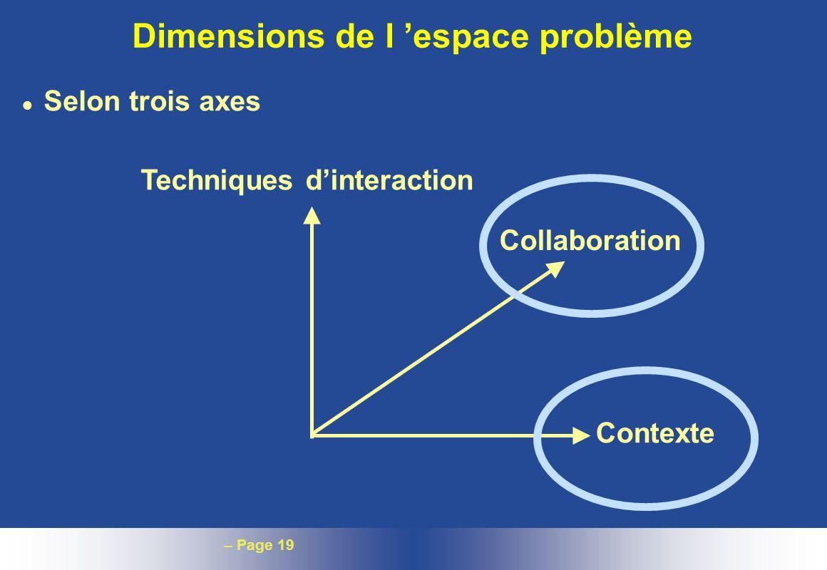 – Page 19 Dimensions de l espace problème l Selon trois axes Techniques dinteraction Collaboration Contexte