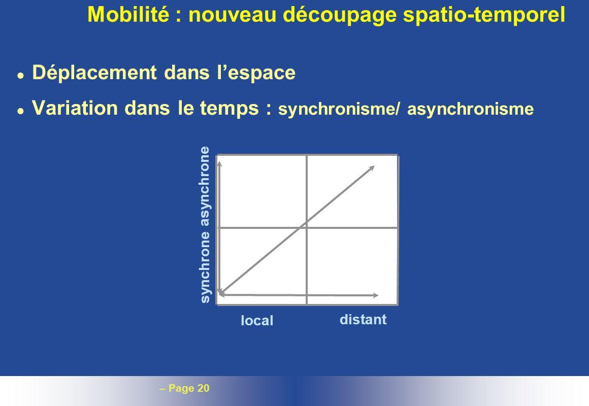 – Page 20 Mobilité : nouveau découpage spatio-temporel l Déplacement dans lespace l Variation dans le temps : synchronisme/ asynchronisme local distan