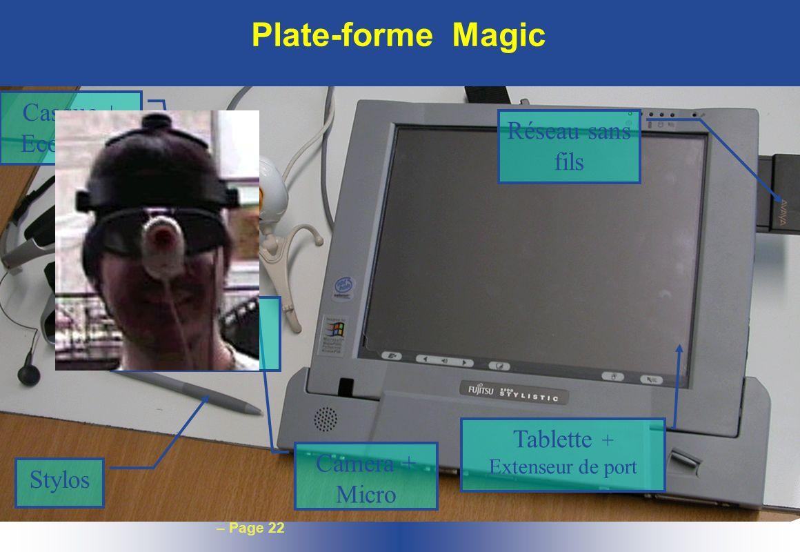 – Page 22 Plate-forme Magic Camera + Micro Casque + Ecouteurs Capteur dorientation Stylos Tablette + Extenseur de port Réseau sans fils