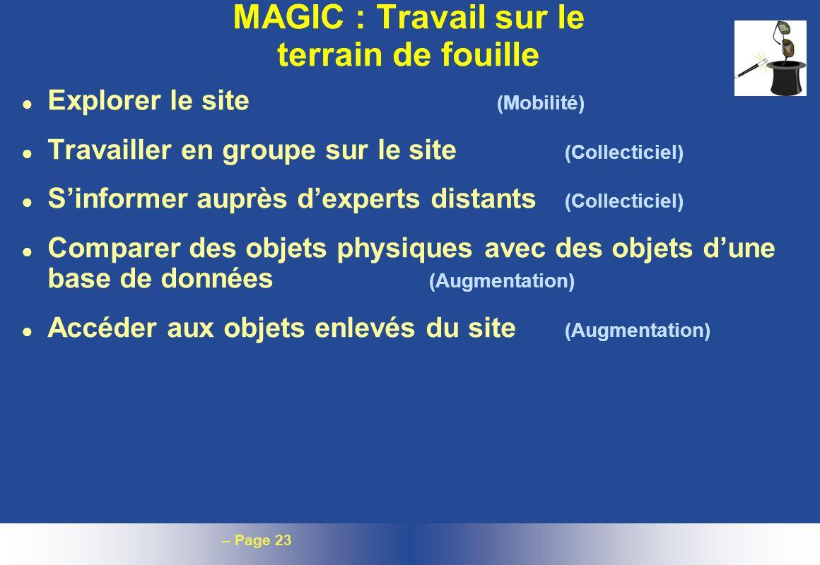 – Page 23 MAGIC : Travail sur le terrain de fouille l Explorer le site (Mobilité) l Travailler en groupe sur le site (Collecticiel) l Sinformer auprès