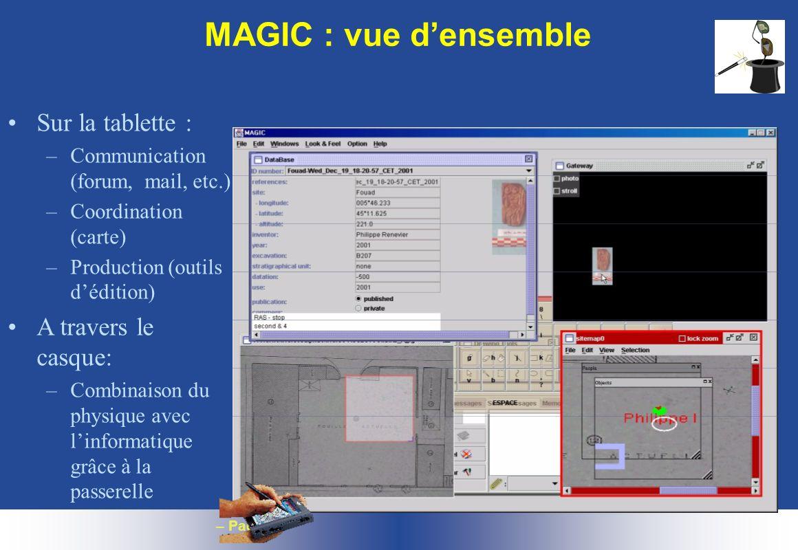 – Page 24 MAGIC : vue densemble Sur la tablette : –Communication (forum, mail, etc.) –Coordination (carte) –Production (outils dédition) A travers le