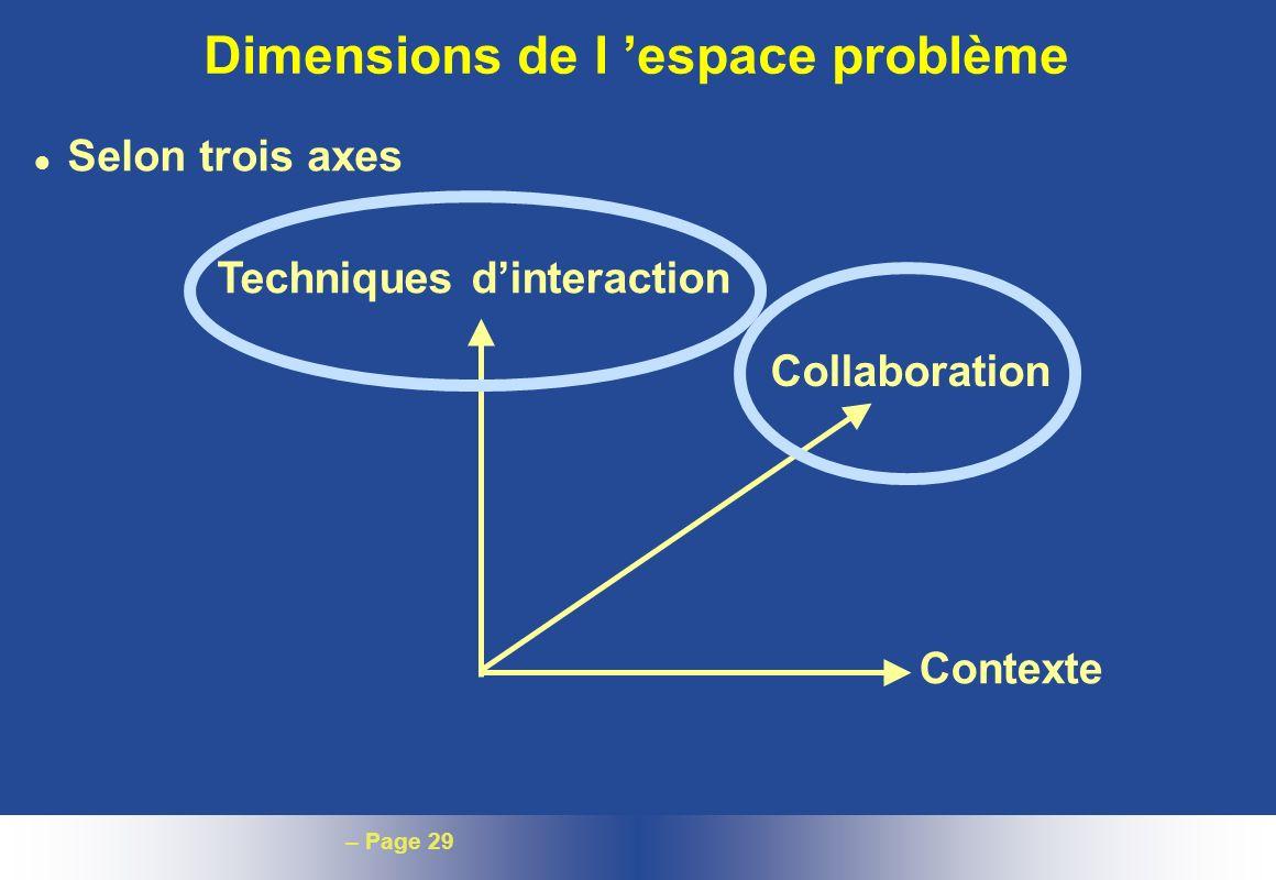– Page 29 Dimensions de l espace problème l Selon trois axes Techniques dinteraction Collaboration Contexte