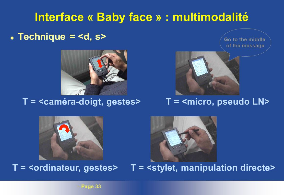 – Page 33 Interface « Baby face » : multimodalité l Technique = Go to the middle of the message T =