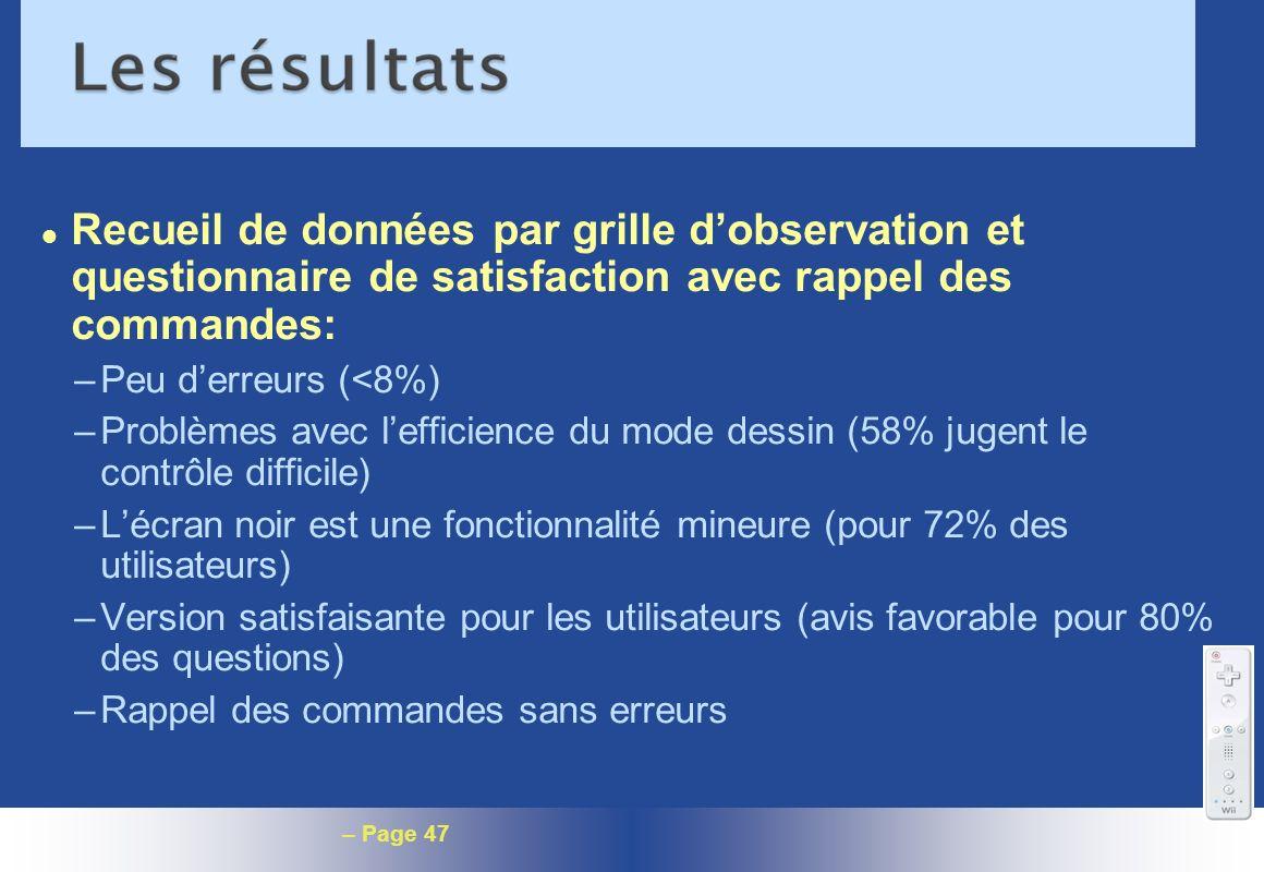– Page 47 l Recueil de données par grille dobservation et questionnaire de satisfaction avec rappel des commandes: –Peu derreurs (<8%) –Problèmes avec