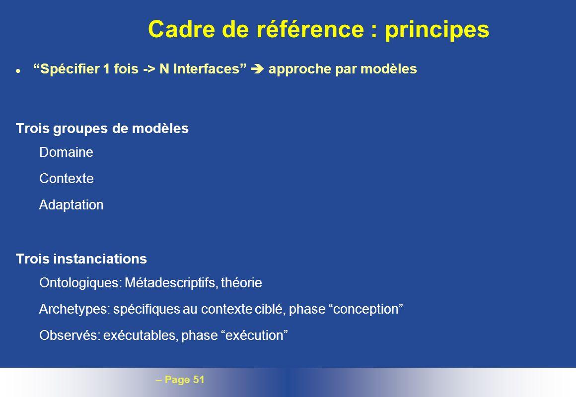 – Page 51 Cadre de référence : principes l Spécifier 1 fois -> N Interfaces approche par modèles Trois groupes de modèles Domaine Contexte Adaptation