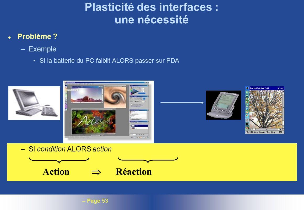 – Page 53 Plasticité des interfaces : une nécessité l Problème ? –Exemple SI la batterie du PC faiblit ALORS passer sur PDA –SI condition ALORS action