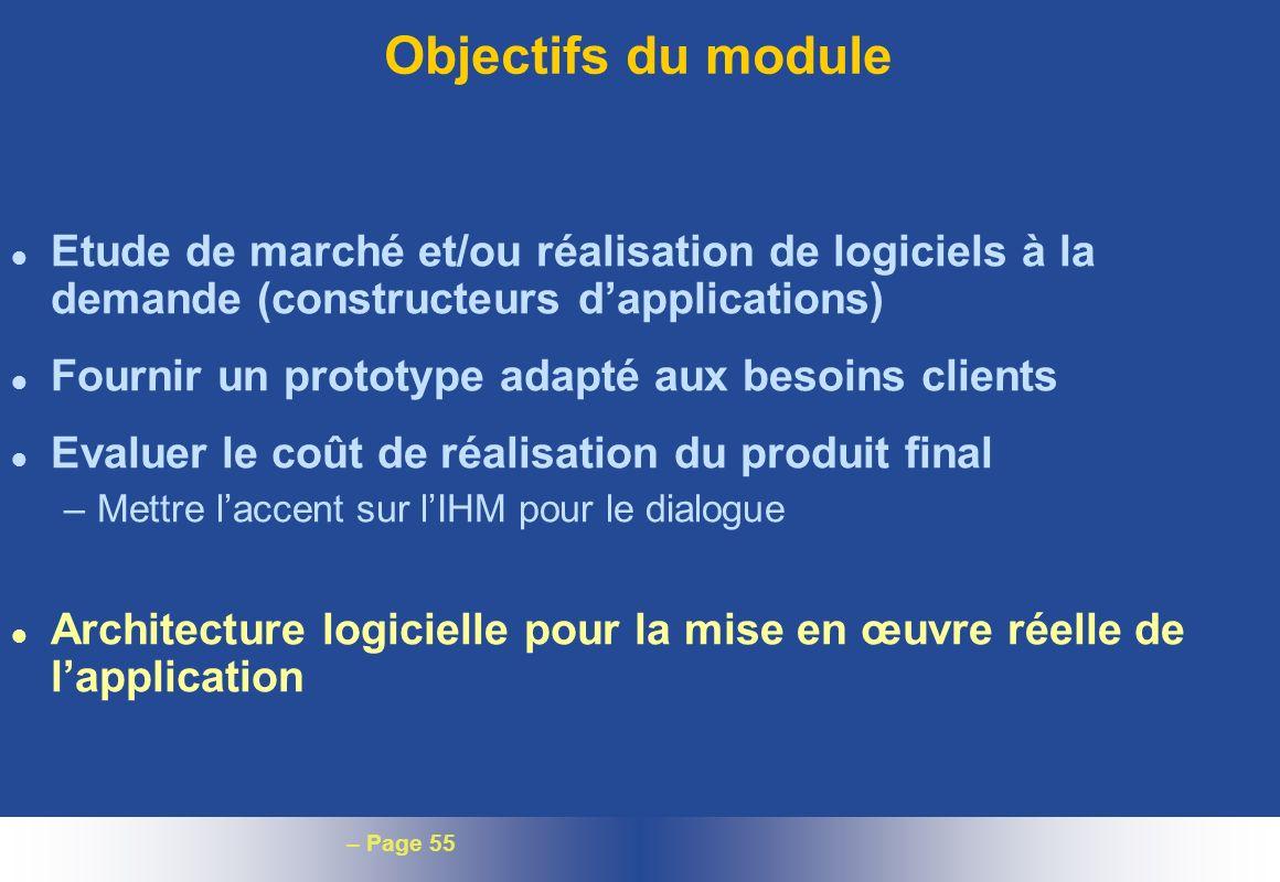 – Page 55 Objectifs du module l Etude de marché et/ou réalisation de logiciels à la demande (constructeurs dapplications) l Fournir un prototype adapt