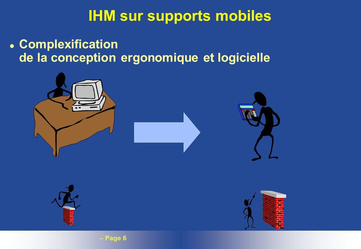 – Page 6 IHM sur supports mobiles l Complexification de la conception ergonomique et logicielle