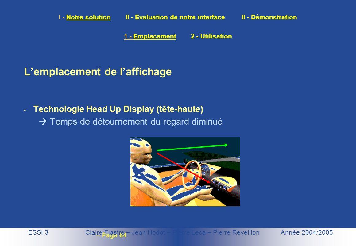 – Page 64 I - Notre solution II - Evaluation de notre interface II - Démonstration Lemplacement de laffichage Technologie Head Up Display (tête-haute)