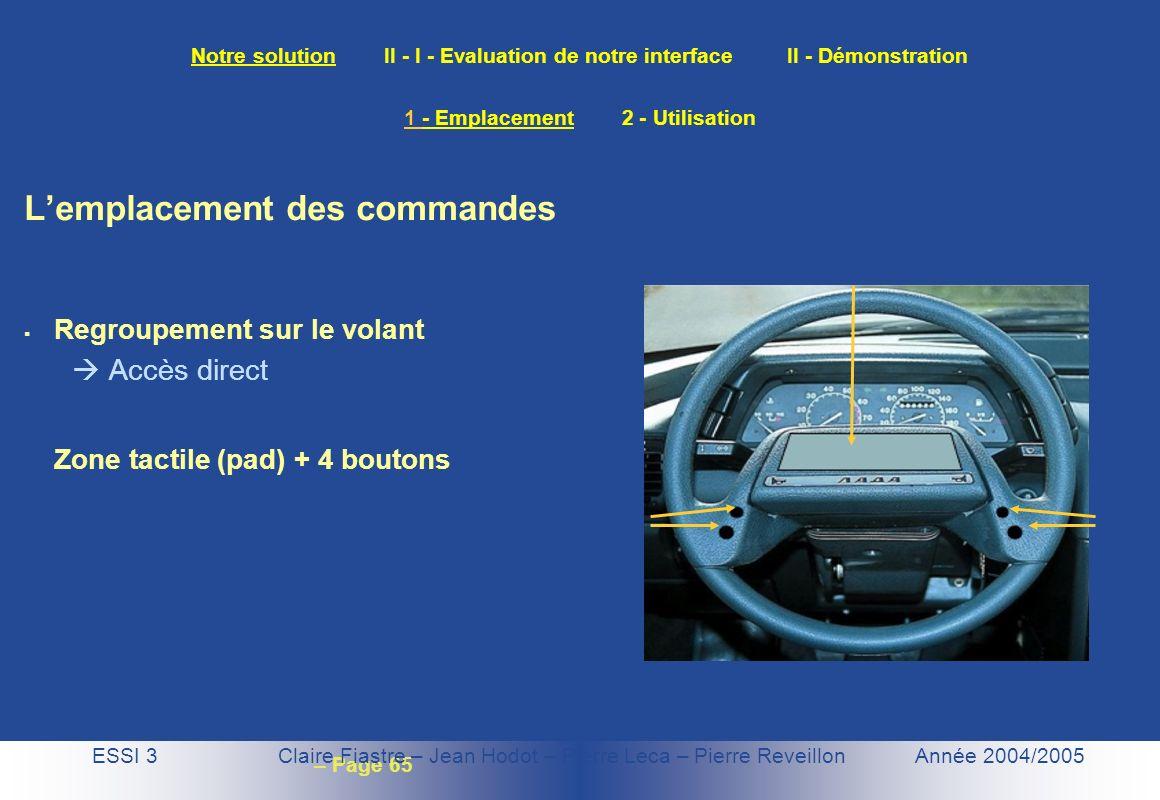 – Page 65 Notre solution II - I - Evaluation de notre interface II - Démonstration ESSI 3 Claire Fiastre – Jean Hodot – Pierre Leca – Pierre Reveillon