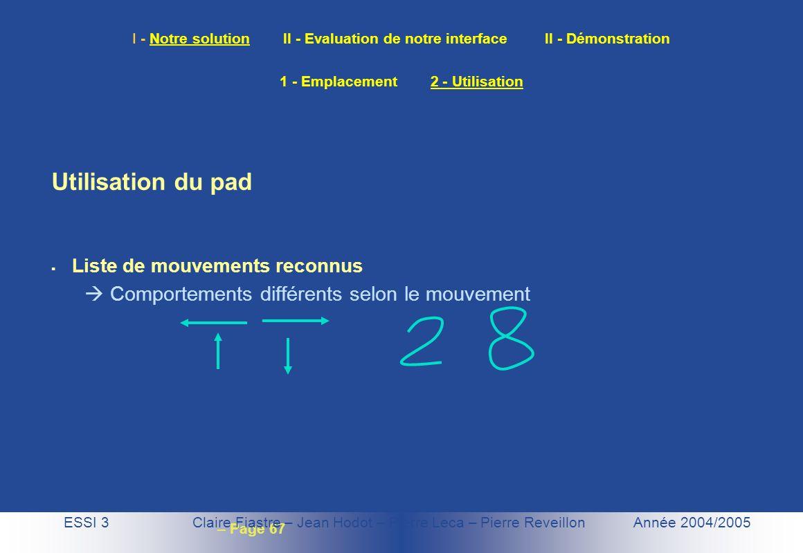 – Page 67 I - Notre solution II - Evaluation de notre interface II - Démonstration ESSI 3 Claire Fiastre – Jean Hodot – Pierre Leca – Pierre Reveillon