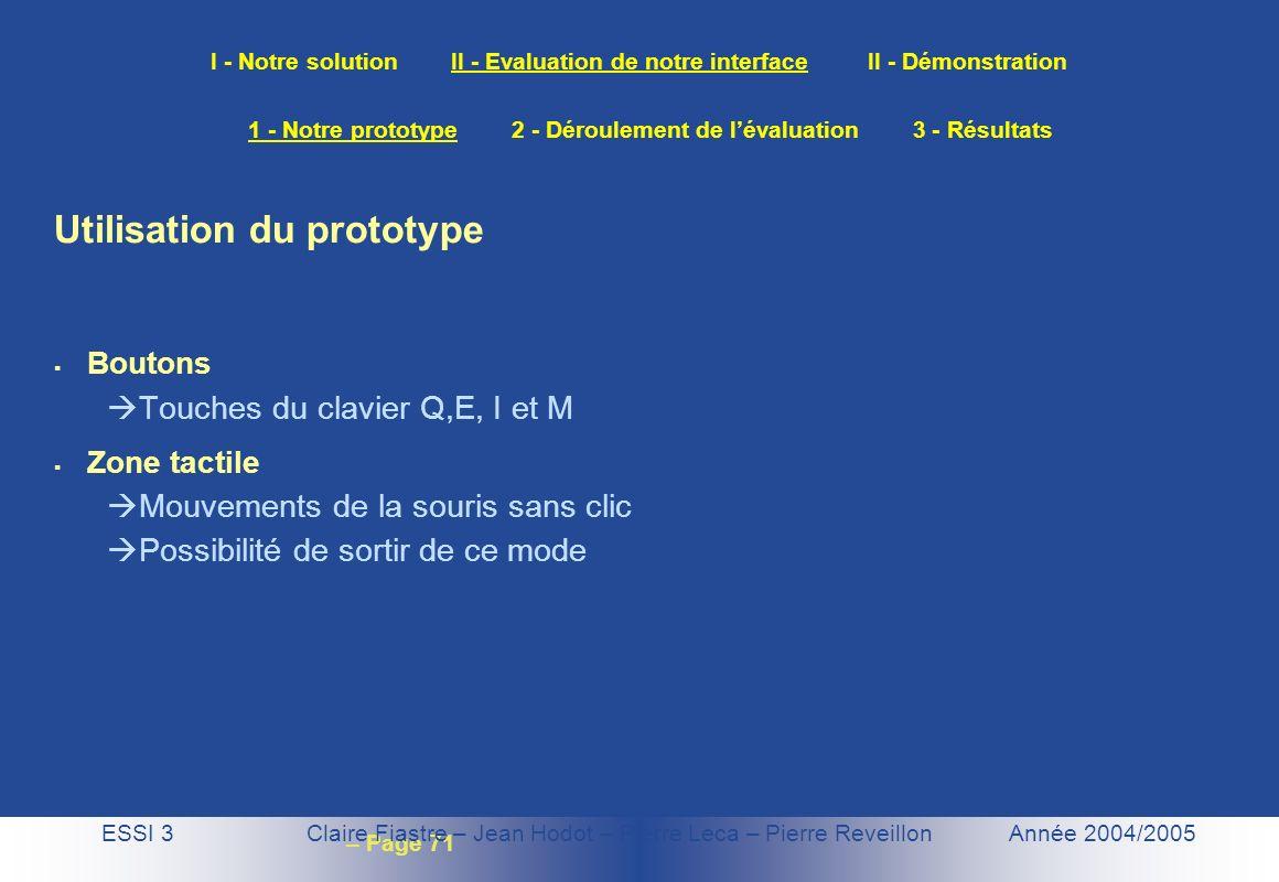– Page 71 I - Notre solution II - Evaluation de notre interface II - Démonstration ESSI 3 Claire Fiastre – Jean Hodot – Pierre Leca – Pierre Reveillon