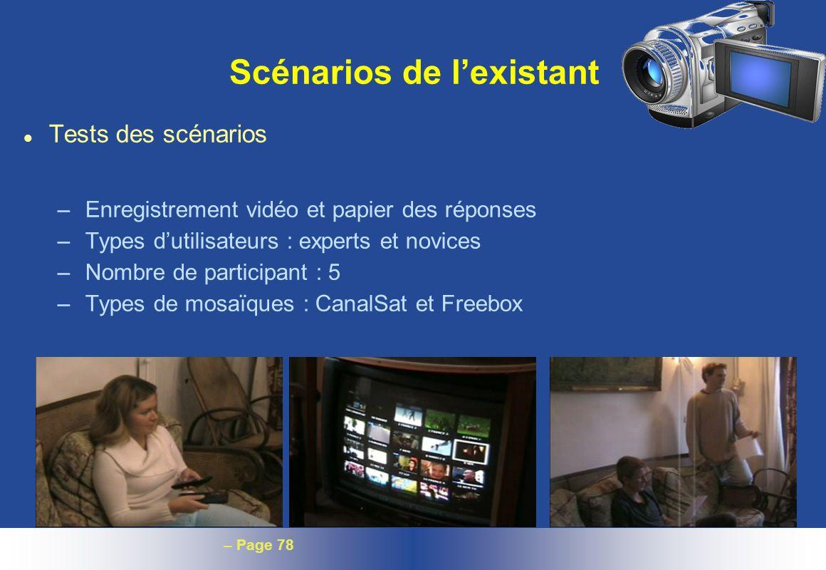 – Page 78 Scénarios de lexistant l Tests des scénarios – Enregistrement vidéo et papier des réponses – Types dutilisateurs : experts et novices – Nomb